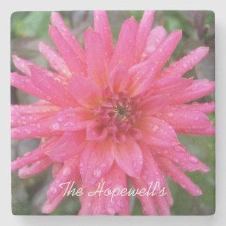 Posavasos De Piedra Práctico de costa rosado brillante de la piedra de