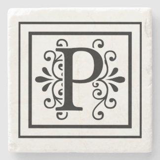 Posavasos De Piedra Prácticos de costa de la piedra del monograma de