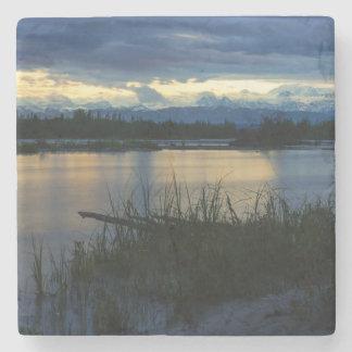 Posavasos De Piedra Puesta del sol de la medianoche de Denali