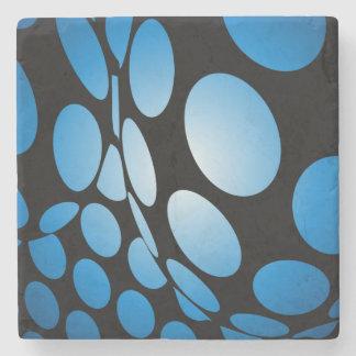 Posavasos De Piedra Puntos azules deformados en negro