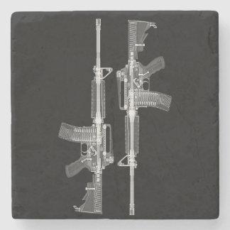 Posavasos De Piedra Radiografía del rifle AR-15 del arma real