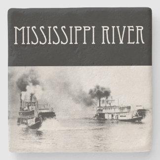 Posavasos De Piedra Raza del barco de vapor en el río Misisipi