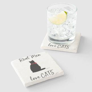 Posavasos De Piedra Real-Hombre-amor-Gatos, gráfico fresco