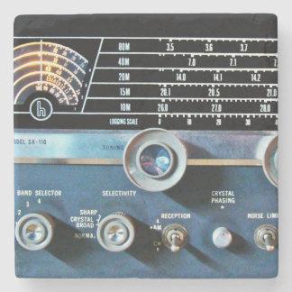 Posavasos De Piedra Receptor de radio de la onda corta del vintage