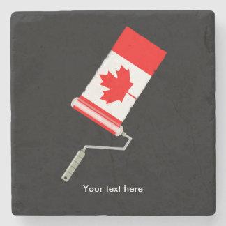 Posavasos De Piedra Rodillo de pintura canadiense de la bandera