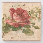 Posavasos De Piedra Rosa rojo del Victorian magnífico