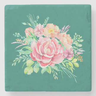 Posavasos De Piedra Rosas florales del ramo de la acuarela del vintage
