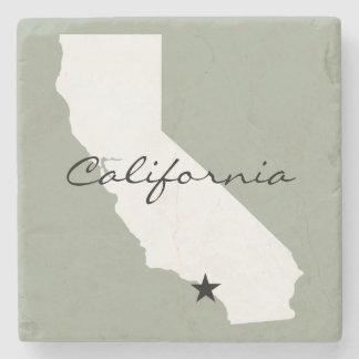 Posavasos De Piedra Silueta minimalista del mapa de California