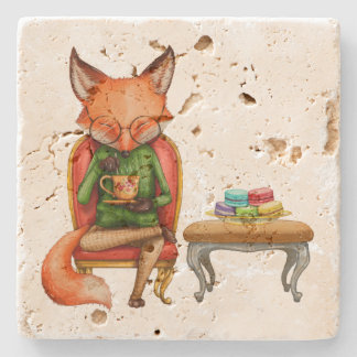 Posavasos De Piedra Sr. Fox Having Tea y macarrones de la acuarela