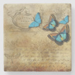 Posavasos De Piedra Té victoriano y mariposas elegantes
