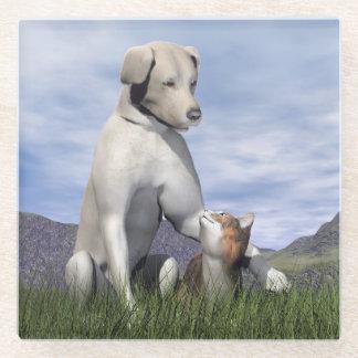 Posavasos De Vidrio Amistad del perro y del gato