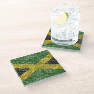 Posavasos De Vidrio Bandera jamaicana - arrugada