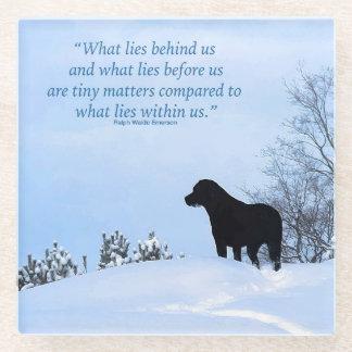 Posavasos De Vidrio Cita negra de Labrador - qué miente dentro de
