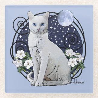 Posavasos De Vidrio Claro de luna, gato blanco y Mirabilis