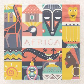 Posavasos De Vidrio Collage simbólico africano del arte