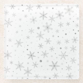 Posavasos De Vidrio Copo de nieve del centelleo - gris y Blanco de