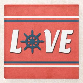 Posavasos De Vidrio Diseño náutico del amor