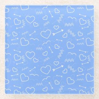 Posavasos De Vidrio Doodles azul claro del corazón y de la flecha del