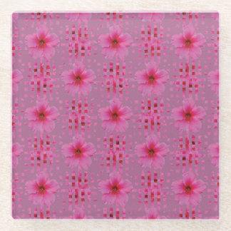 Posavasos De Vidrio El hibisco rosado florece el práctico de costa