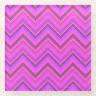 Posavasos De Vidrio El rosa raya el modelo de zigzag