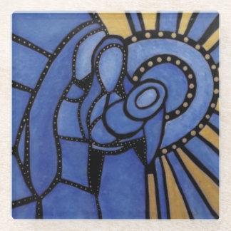 Posavasos De Vidrio Familia santa abstracta azul moderna