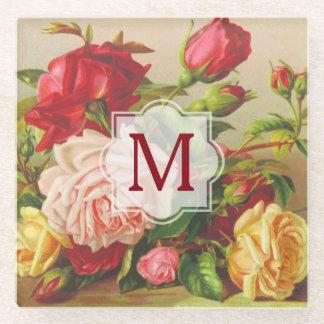 Posavasos De Vidrio Flores del ramo de los rosas del Victorian del