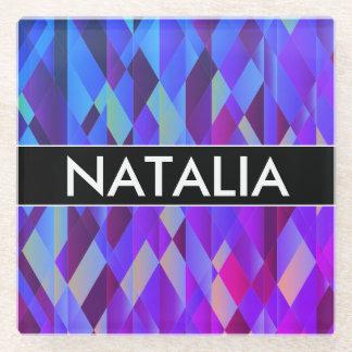 Posavasos De Vidrio Fondo geométrico colorido brillante con nombre