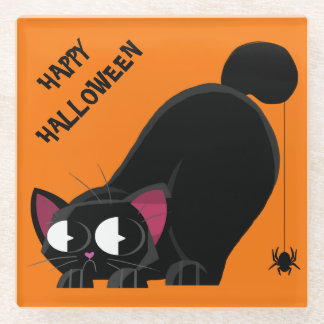 Posavasos De Vidrio Gato negro y araña de Halloween