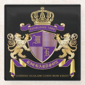 Posavasos De Vidrio Haga su propio emblema de la corona del monograma