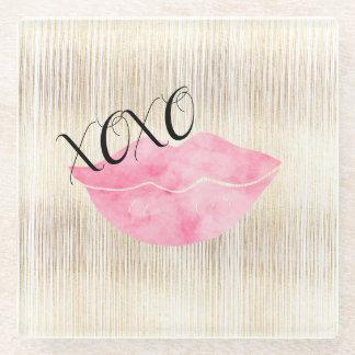 Posavasos De Vidrio Labios rosados de la acuarela de XOXO