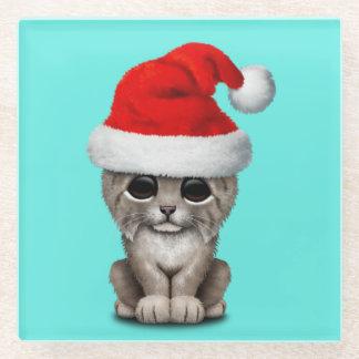Posavasos De Vidrio Lince lindo Cub que lleva un gorra de Santa