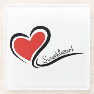 Posavasos De Vidrio Mi tarjeta del día de San Valentín del amor