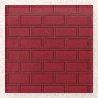 Posavasos De Vidrio Modelo rojo fresco de la pared de ladrillos del