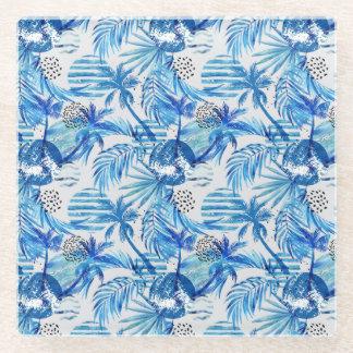 Posavasos De Vidrio Modelo tropical azul brillante de la acuarela