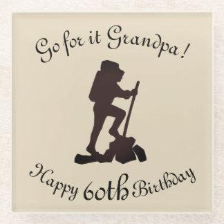 Posavasos De Vidrio Modifique a este 60.o abuelo feliz del cumpleaños