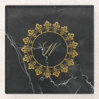 Posavasos De Vidrio Monograma adornado del círculo en el mármol negro