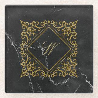 Posavasos De Vidrio Monograma adornado del diamante en el mármol negro