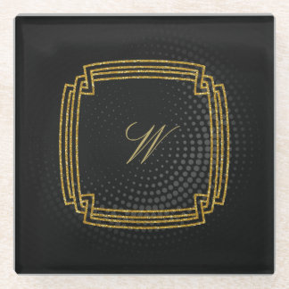Posavasos De Vidrio Monograma cuadrado simple en la circular negra