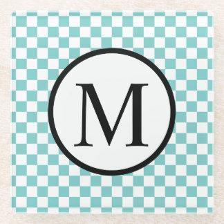 Posavasos De Vidrio Monograma simple con el tablero de damas de la