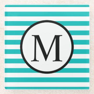 Posavasos De Vidrio Monograma simple con las rayas horizontales de la