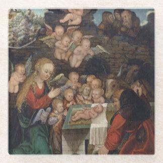 Posavasos De Vidrio Natividad que ofrece querubes