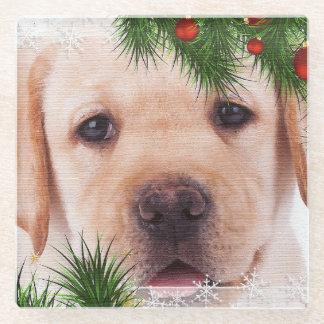 Posavasos De Vidrio Navidad amarillo de Labrador