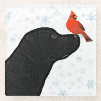 Posavasos De Vidrio Navidad negro y cardenal de Labrador
