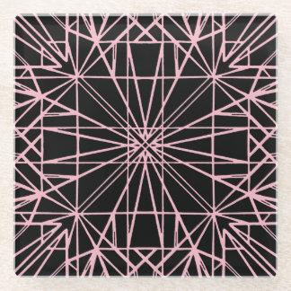 Posavasos De Vidrio Negro y pálido - simetría geométrica rosada