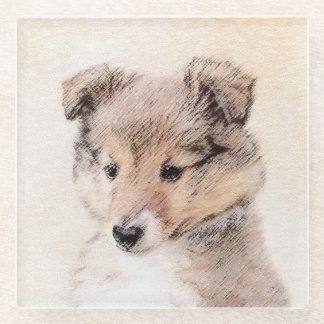 Posavasos De Vidrio Perrito del perro pastor de Shetland