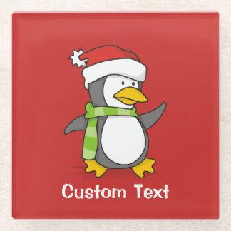 Posavasos De Vidrio Pingüino del navidad que camina en nieve