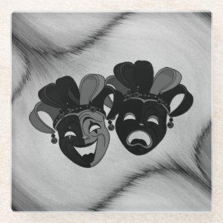 Posavasos De Vidrio Plata de las máscaras del bufón del teatro de la