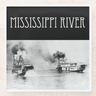 Posavasos De Vidrio Práctico de costa del barco de vapor del río