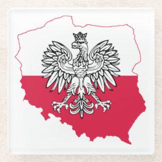 Posavasos De Vidrio Práctico de costa polaco del vidrio de la bandera