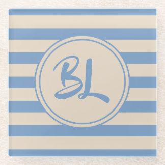Posavasos De Vidrio Rayas azules claras y beige adaptables